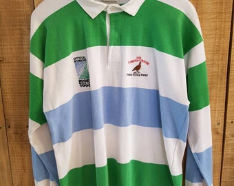 bb9ea2c2322 90s Vintage 1995 World Cup Sponsor Polycotton The Famous Grouse Made In  Australia Shirt P Wing Polo bear hip hop blue bell
