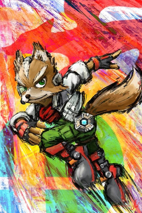 Super Smash Brothers Fox Mccloud Star Fox Fine Art Print