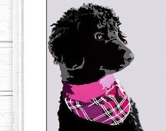 Pack of 4, Black Poodle Digital Download, Downloadable Art, Nursery Art, blue dog art, modern art, poodle art, dog lover, black dog art