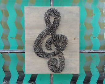 string art music note string art treble clef nail art music etsy. Black Bedroom Furniture Sets. Home Design Ideas