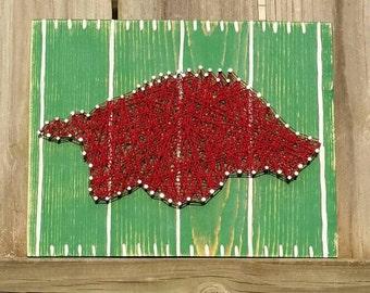 String Art Razorback, Nail Art Hog, Arkansas Razorbacks, NailedItDesign, SEC Football, Unique Gift Idea,  Woo Pig Sooie, Razorback Football