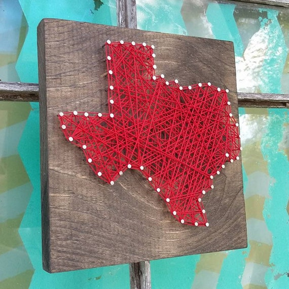Small String Art State String Art Texas 3d State Art Nail Etsy