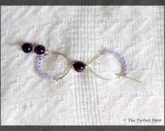 Shawl Pin, Purple, Amethyst, Silver, Wire Wrapping, Wrap