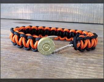 Bullet Bracelet, Fishhook, Anchor, Paracord, Men's, Groomsmen, Black & Orange, 275 lb. Cord
