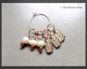 Stitch Marker, Knitting, Copper, Pearl, White, Fiber, Wool, Snag Free