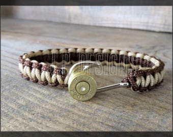 Fathers Day Gift, Anklet, Bullet Bracelet, Fishhook, Anchor, Paracord, Men's, Groomsmen, Country, Tan & Walnut Brown, 100 lb. Cord