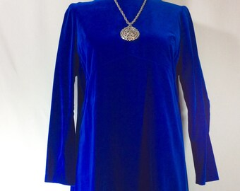 Womens 1960s Royal Blue Velvet Mod Mini Dress with Empire Waist and 3/4 Length Sleeves size S