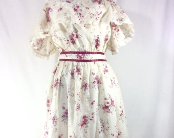 Womens Vintage Gunne Sax Inspired Floral Eyelet Off the Shoulder Prairie Dress size S