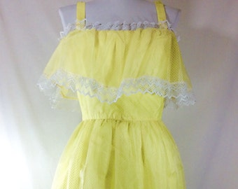 Womens Vintage Sunny Yellow Dotted Swiss Flouncy Mini Dress size S