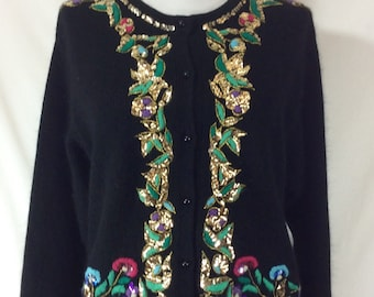 Womens Vintage Black Button Up Embroidered Cardigan with Sequins size L