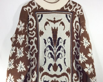Womens Vintage Baroque Brown/Cream Slouchy Knit Sweater size M