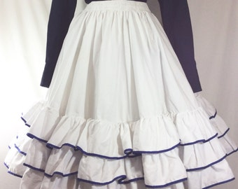 Womens Vintage White Western Ruffle Skirt with Blue Trim size L
