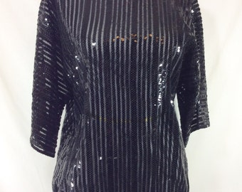 Womens Vintage Sheer Black Sequin Striped Short Sleeve Showstopper Top size S/M