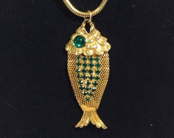 1960s Gold Mesh Fish Pendant Necklace with Emerald Eye and Rhinestones on Long Chain