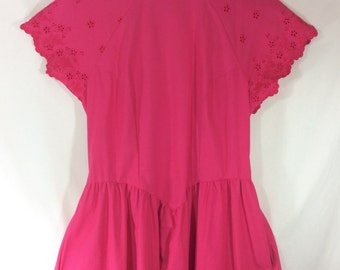 1980s A-Line Pretty In Pink Cotton Open-Back Summer Dress with Eyelet Sleeves size S/M