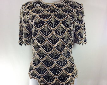 Womens Vintage Sparkling Beaded Sequin and Pearl Scalloped Short Sleeve Top size S/M