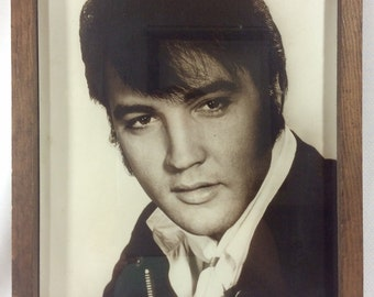 Vintage 1960s Black and White Elvis Photograph in  Wooden Frame