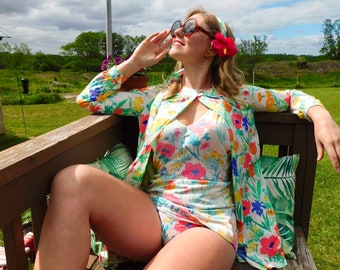 1960s 3pc Floral Swimsuit Set with Cover-up and Belt/Hair Scarf size M