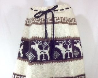Womens Vintage Boho Alpaca/Lamb's Wool Skirt (size 6-8) or Poncho (one size)