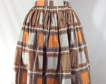 Womens Vintage 1950s Mid Century Polka Dot Print Gathered A-line Skirt size S