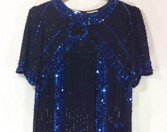 Womens Vintage Black and Midnight Blue Beaded Sequin Silk Blouse with Asymmetrical Hem and Short Sleeves size S
