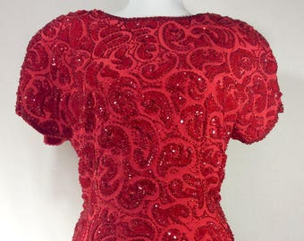 Womens Vintage Ruby Sequin and Beaded Paisley Blouse with Scalloped Edges size S