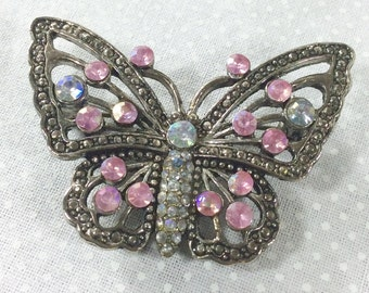 Vintage Silver Butterfly Brooch/Pendant with Marcasite and Pink Rhinestones