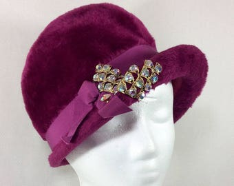 Vintage UNION MADE Fuzzy Magenta Cloche with Ribbon and Sparkling Rhinestones