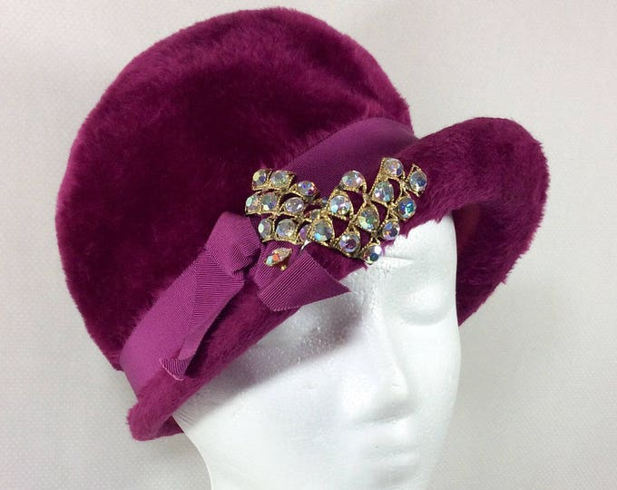 Featured listing image: 1960s UNION MADE Fuzzy Magenta Cloche with Ribbon and Sparkling Rhinestones