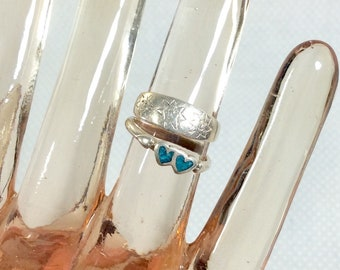 1990s Set of 2 Sterling Silver 925 Pinky Rings with Turquoise Inlay sizes 3-3.5