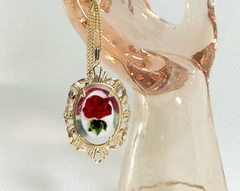 1960s Intaglio Rose Lucite Filigree Pendant Necklace on Long Gold Chain