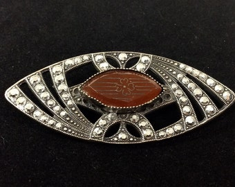 Vintage Marquee Shaped Brooch with Marcasite and Etched Art Deco Style Stone