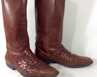 Womens Vintage Tall Brown Leather Boots with Woven Detail size 7.5