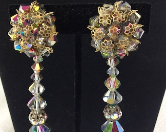 40% OFF! Long Vintage Swarovski Beaded Cluster Clip-On Earrings with Gold Filigree