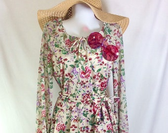 1970s Floral Boho Belted Dress with Sheer Long Sleeves and Tie Neckline size M