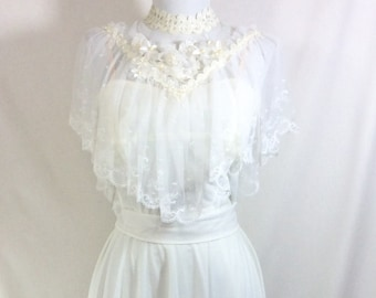 1960s 3pc Boho Angel Dress with Lacey Beaded and Sequin Shoulder Cape size S