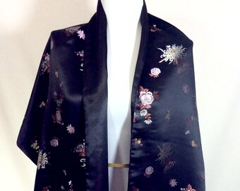 Vintage Black Satin Silk Fringed Shawl with Metallic Embroidered Flowers- One Size