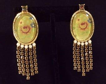 1980s Marie Antoinette Rose Pearl and Rhinestone Chandelier Clip-On Earrings