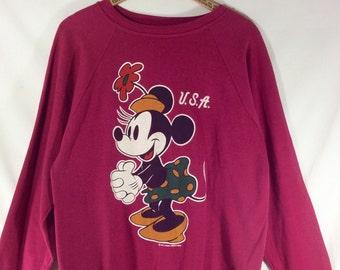 Womens Vintage 1980s Magenta Minnie Mouse USA Sweatshirt size XL