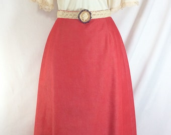 1970s Coral Maxi Skirt with Macrame Resin Buckle Belt size M