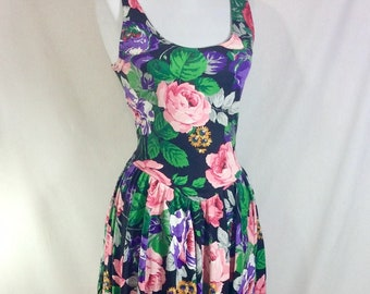 1980s Cotton Floral Sleeveless Pin Up A-Line Bombshell Dress size M/L