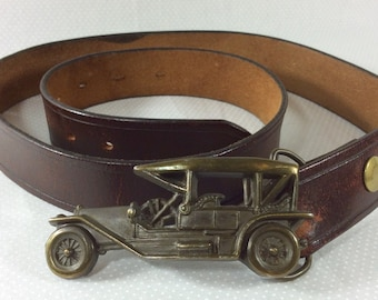 Vintage Distressed Brown Leather Belt with Interchangable Brass Automobile Buckle sizes 30-36
