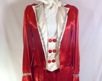 1960s Satin 4pc Marching Band Red and White Parade Costume with Silver Trim size M