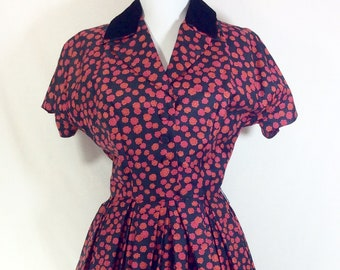 1950s Silk Saks Fifth Avenue Floral A-line Dress with Velvet Collar size S