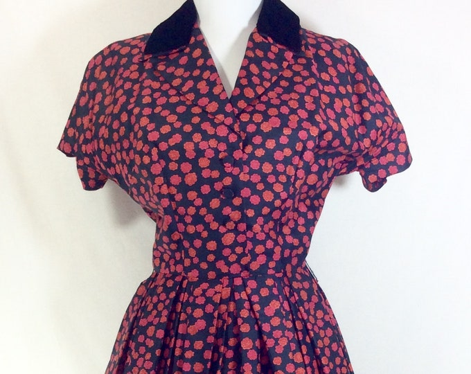 Featured listing image: 1950s Silk Floral A-line Dress with Velvet Collar by Saks Fifth Avenue size S