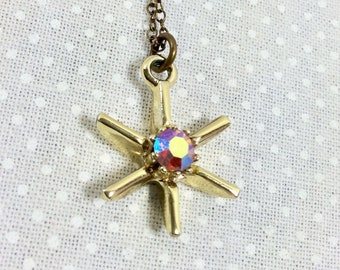 1960s Gold Starburst Pendant Necklace with Aurora Borealis Rhinestone