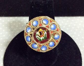 Vintage Italian Micro Mosaic Gold Tone Adjustable Ring