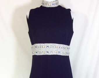 1960s Wool Sleeveless Maxi Dress with Jeweled Silver Trim size M
