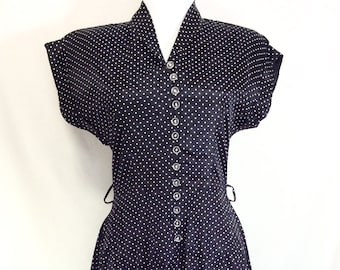 1940s Polka A-Line Rayon Dress with Button Front Bodice size S