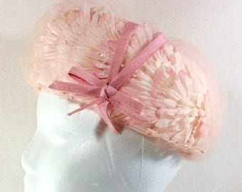 1960s Jackie O UNION MADE Pink Flower and Mesh Pillbox Hat with Pearls and Pink Ribbon